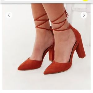 Forever 21 - Faux Suede Lace-up heels - Rust